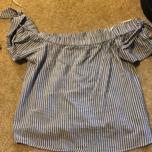 Abercromibe blue & white striped top